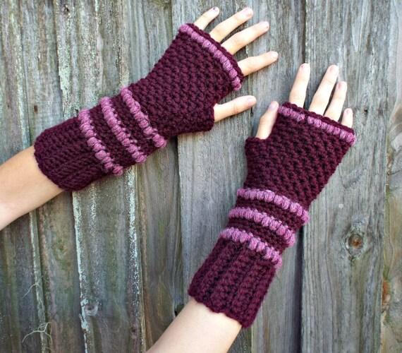 Womens Crocheted Fingerless Gloves Pink Burgundy Fingerless Gloves Mittens - Pink Gloves Pink Mittens Burgundy Gloves - READY TO SHIP