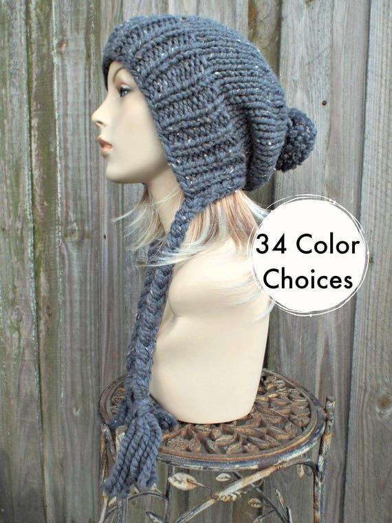 Grey Womens Pom Pom Hat - Graphite Tweed Grey Hat Grey Ear Flap Hat Grey Slouchy Beanie - Charlotte Winter Hat - 34 Color Choices