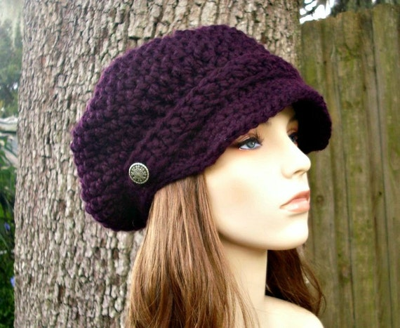 Eggplant Purple Newsboy Hat Crochet Hat Womens Hat Purple Hat Purple Beanie - Crochet Newsboy Hat - Womens Accessories