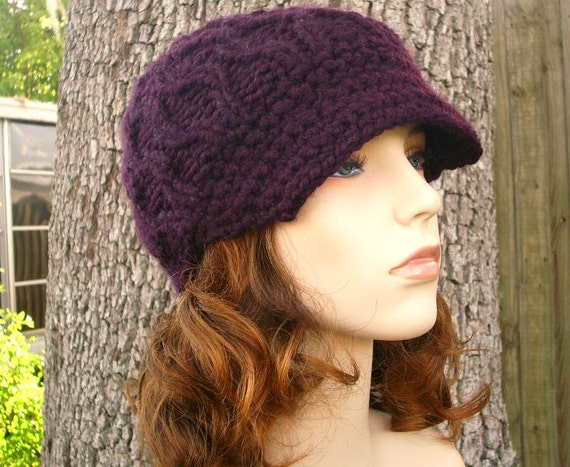 Womens Hat Purple Newsboy Hat - Amsterdam Cable Beanie with Visor in Eggplant Purple Knit Hat - Purple Hat Purple Beanie Womens Accessories