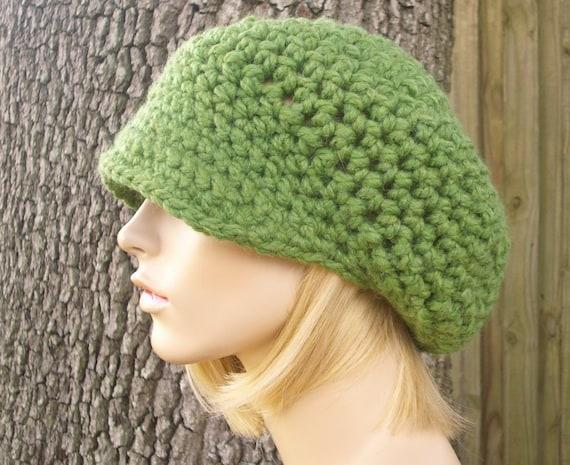 Green Womens Hat Green Newsboy Hat - Crochet Newsboy Hat Grass Green Crochet Hat - Green Hat Womens Accessories Fall Fashion Winter Hat