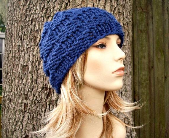 Knit Hat Womens Hat - Basket Weave Beanie in Sapphire Blue Knit Hat - Blue Hat Blue Beanie Womens Accessories Winter Hat