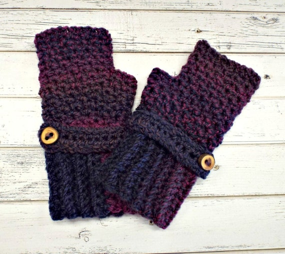Crocheted Fingerless Gloves Mittens - Concord Grape Jelly Purple Fingerless Gloves - Purple Gloves Purple Mittens Womens Accessories