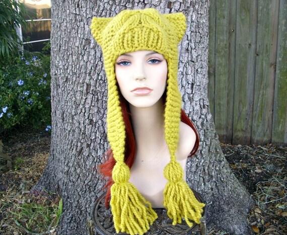 Yellow Womens Hat - Tassel Dragon Ear Flap Hat Citron Yellow Knit Hat - Yellow Hat Womens Accessories Fall Fashion Winter Hat