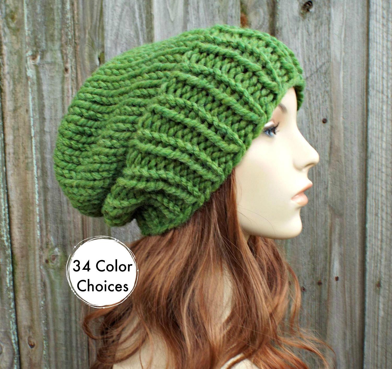 515cefa1923 Chunky Knit Hat Womens Warm Winter Hat Knit Accessories - Adaline Slouchy  Beanie - Grass Green Hat Green Beanie