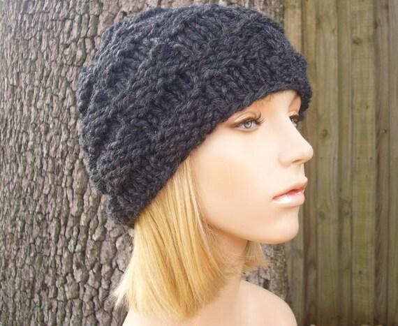 Knit Hat Womens Hat - Basket Weave Beanie in Charcoal Grey Knit Hat - Grey Hat Womens Accessories Winter Hat