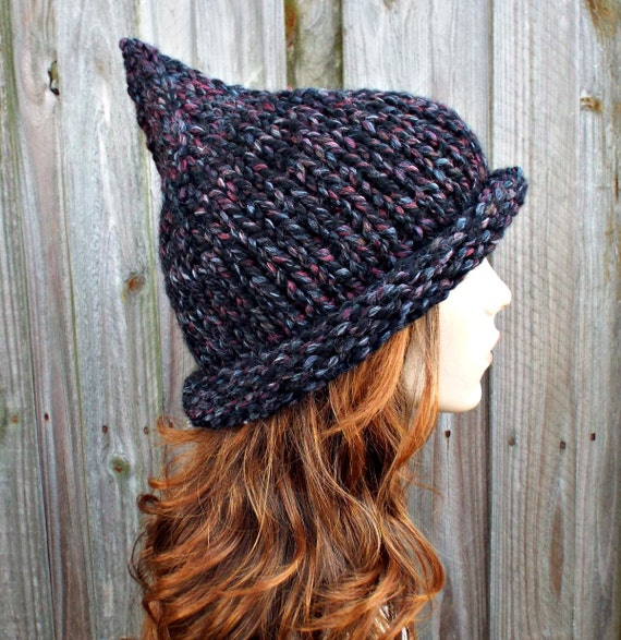 Grey Womens Hat - Grey Gnome Hat Blackstone Black Charcoal Grey Knit Hat - Grey Hat Black Witch Hat Womens Winter Hat