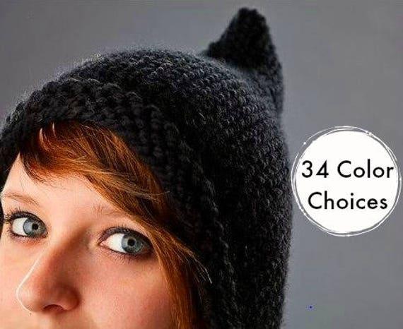 Knit Hat Womens Hat - Black Pixie Hat Black Knit Hat - Black Hat Black Ear Flap Hat Womens Accessories Winter Hat - 34 Color Choices