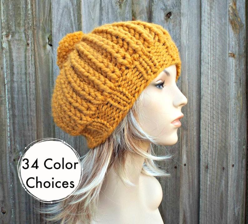 7e23506f263 Mustard Hat Womens Hat Oversized Beret With Pom Pom Knit Pom