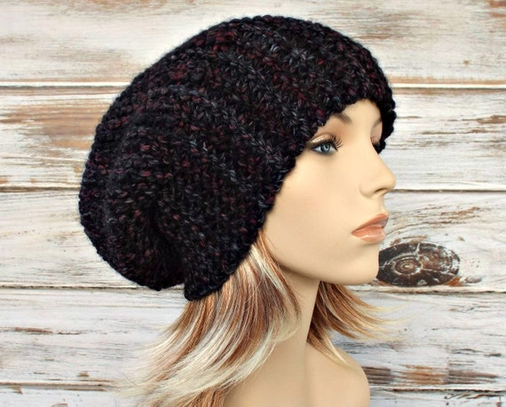 Grey Knit Hat Grey Hat Grey Womens Hat - Slouchy Hat in Black Charcoal Grey Slouchy Beanie Womens Knit Accessories Winter Hat