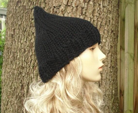 Black Womens Hat - Black Gnome Hat Black Knit Hat Black Hat Black Beanie Womens Accessories Fall Fashion Winter Hat