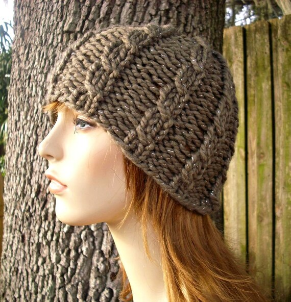 Knit Hat Womens Hat - Brown Cable Beanie in Gemstone Metallic Taupe Knit Hat - Brown Hat Taupe Hat Womens Accessories Winter Hat