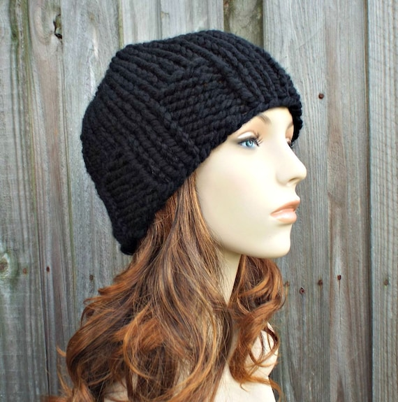 Black Knit Hat Black Mens Beanie Black Womens Hat Chunky  e99156d023