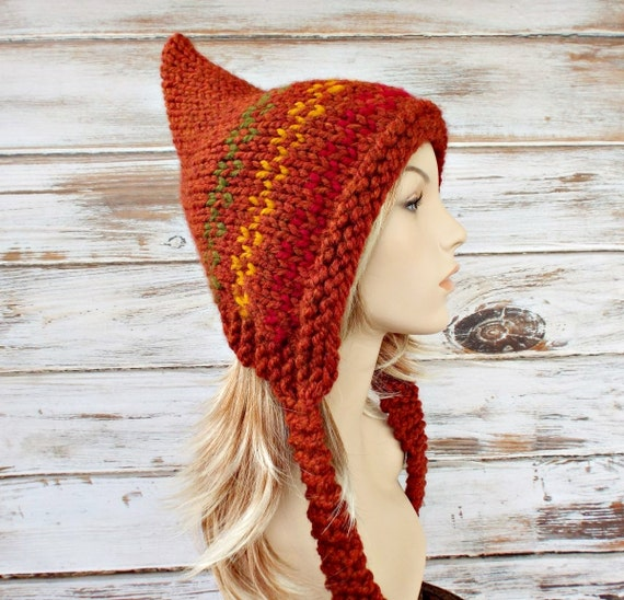 Knit Hat Womens Hat - Orange Pixie Hat Fair Isle - Rust Orange Red Gold Green Knit Hat - Rust Orange Hat Womens Accessories Winter Hat