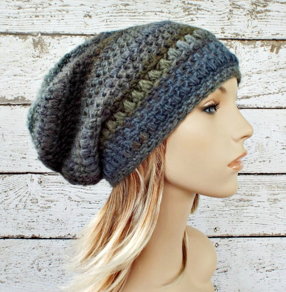 Crochet Hat Womens Hat - Penelope Puff Stitch Slouchy Beanie Hat - Blue Grey Olympia - Womens Accessories Winter Hat