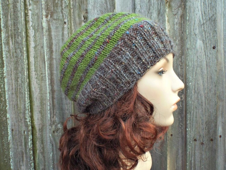 f01a44e3f67643 Brown and Green Beanie Brown Hat Brown Mens Hat Brown Womens   Etsy