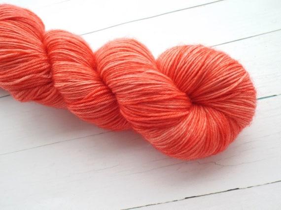 Hand Dyed Yarn Hand Dyed Sock Yarn Superwash Merino Nylon Blend 80/20 Fingering Weight Yarn - Tonal Coral Yarn Salmon Yarn Peach Orange Yarn