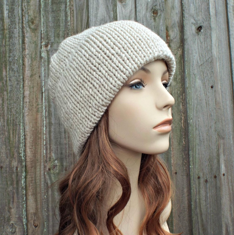 8ca292f64aece Cream Linen Double Thick Brim Knit Hat Womens Hat Mens Hat