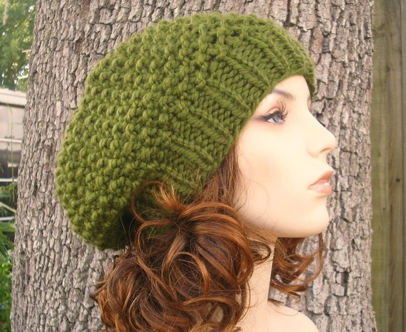 Knit Hat Olive Green Womens Hat - Seed Beret Hat in Olive Green Knit Hat - Green Hat Green Beanie Green Beret Womens Accessories