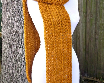 Crocheted Chunky Scarf - New Englander Oversized Scarf in Mustard Yellow - Mustard Scarf Yellow Scarf Womens Accessories