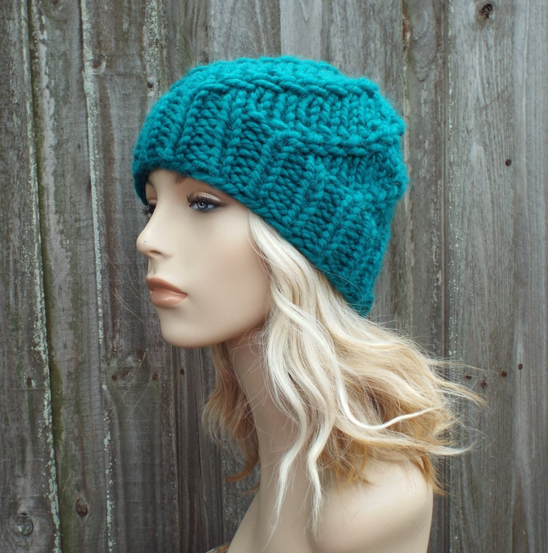 Peacock Beanie Chunky Knit Hat Womens Hat Blue Mens Hat Blue Spiral Beanie Blue Hat Blue Beanie Whirly Beanie in Peacock