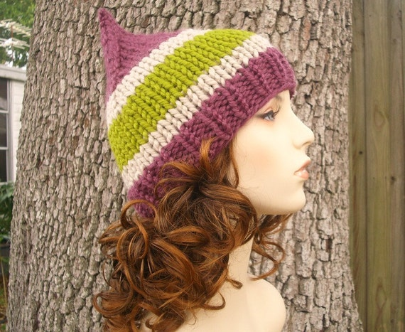 Knit Hat Womens Hat - Gnome Hat in Fig Leaf Purple Knit Hat - Womens Accessories Winter Hat