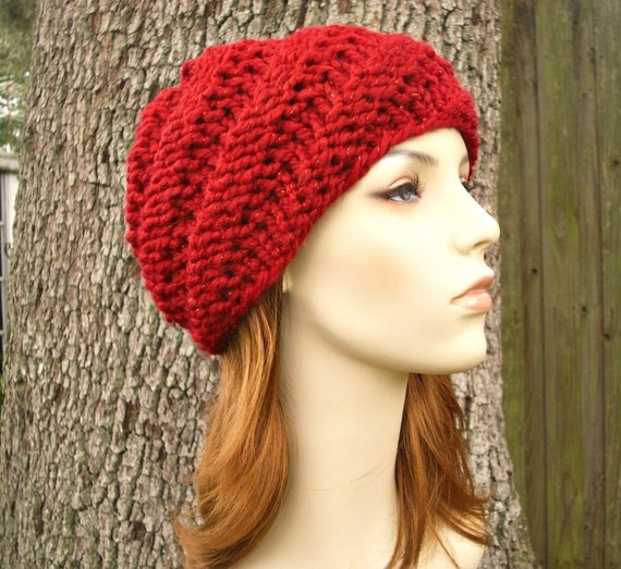 Knit Hat Red Womens Hat - Swirl Beanie in Metallic Poinsettia Red Knit Hat - Red Hat Red Beanie Womens Accessories