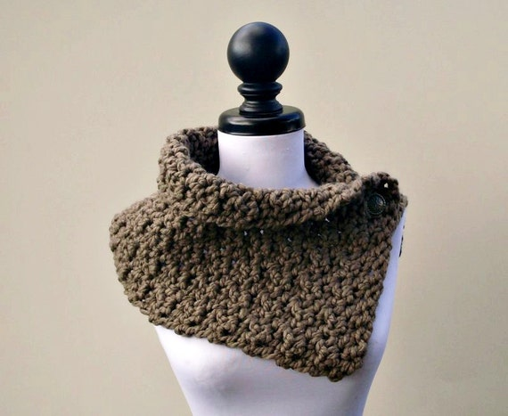 Crocheted Cowl Scarf - Lucienne Cowl in Taupe Brown Taupe Cowl Brown Cowl Taupe Scarf Brown Scarf Womens Accessories