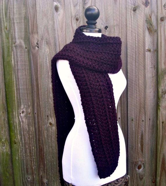 Womens Oversized Crochet Chunky Scarf - New Englander Eggplant Purple Scarf - Womens Accessories Warm Winter Scarf