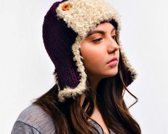 Womens Accessories Purple Womens Hat - Purple Ear Flap Hat Trapper Hat Aviator Hat Eggplant Purple Knit Hat - Purple Hat Chunky Winter Hat