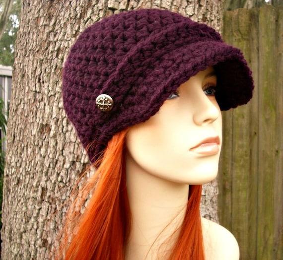 Womens Hat Purple Newsboy Hat - Jockey Cap Eggplant Purple Crochet Hat - Purple Hat Purple Beanie Womens Accessories Winter Hat