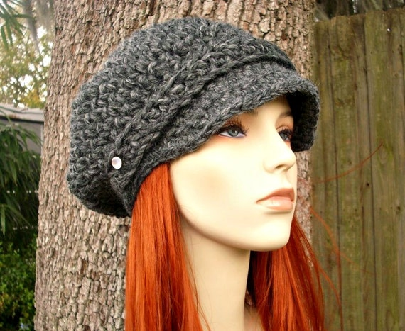 Crochet Hat Womens Hat Grey Newsboy Hat - Crochet Newsboy Hat in Granite Grey Crochet Hat - Grey Hat Grey Beanie Womens Accessories