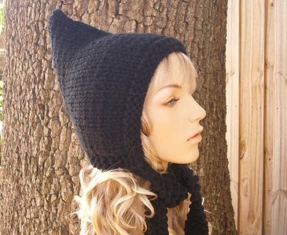 Black Womens Hat - Black Pixie Hat Black Knit Hat - Black Hat Chunky Knit Hat Womens Accessories Fall Fashion Winter Hat