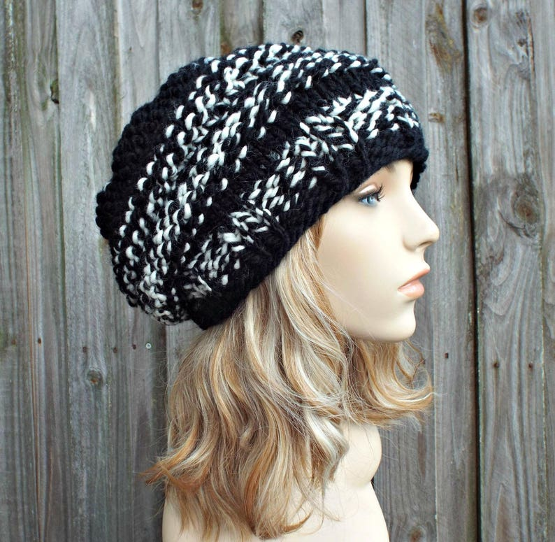 a81d824fee9 Black and White Knit Hat Black Womens Hat Original Beehive
