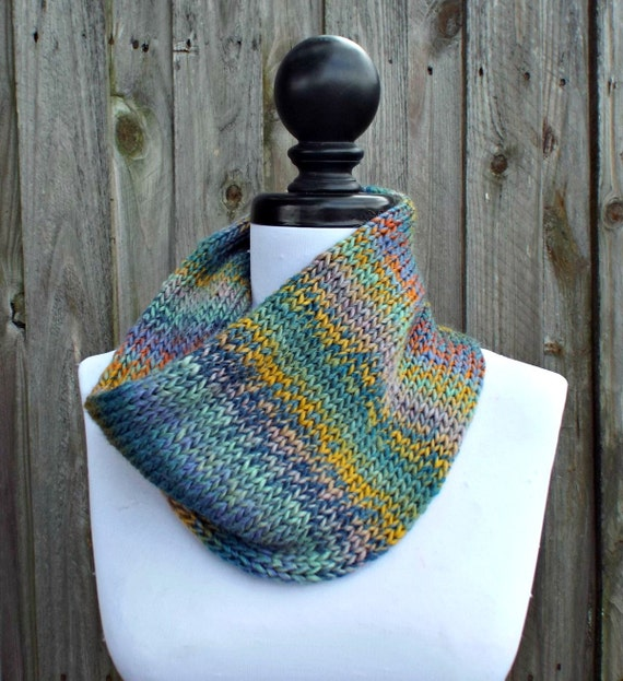 Double Knit Circle Scarf Womens Scarf - Rainbow and Grey Scarf - Cowl Scarf Womens Accessories Fall Fashion - READY TO SHIP
