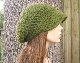 Crochet Hat Womens Hat Olive Green Newsboy Hat - Crochet Newsboy Hat in Olive Green Crochet Hat - Green Hat Green Beanie Womens Accessories