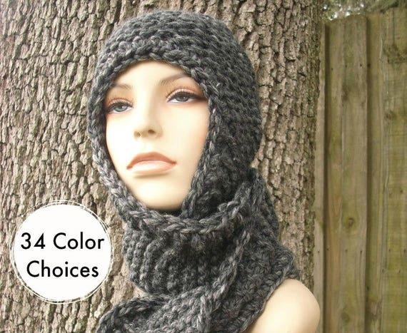 Knit Hat Womens Hat Knit Scarf Hat Ear Flap Hat - Garter Nomad Scarf Hat in Granite Grey Knit Hat - Grey Scarf Grey Hat