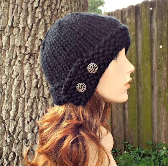 Black Womens Hat - Black Cloche Hat Black Knit Hat - Black Hat Black Beanie Womens Accessories Fall Fashion Winter Hat