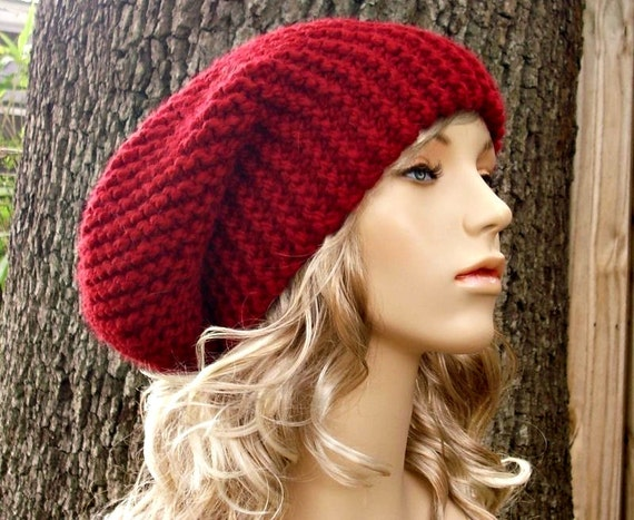 Knit Hat Mens Hat Womens Hat Slouchy Beanie - Slouchy Hat in Cranberry Red Knit Hat - Red Hat Red Beanie Womens Accessories Winter Hat