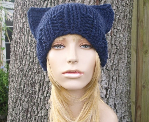 Knit Hat Womens Hat - Cat Beanie Hat in Navy Blue Knit Hat - Blue Hat Blue Beanie Navy Hat Navy Beanie Womens Accessories Winter Hat