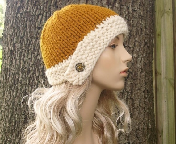 Knit Hat Womens Hat Mustard Hat Cream Hat - Cloche Knit Hat in Mustard Yellow and Cream Knit Hat - Womens Accessories Winter Hat