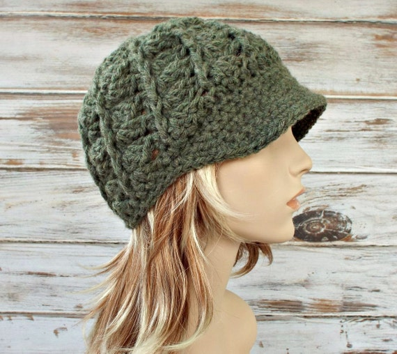 Crochet Hat Womens Hat Green Newsboy Hat - Pippa Swirl Crochet Newsboy Hat in Willow Green Crochet Hat - Green Hat Womens Accessories