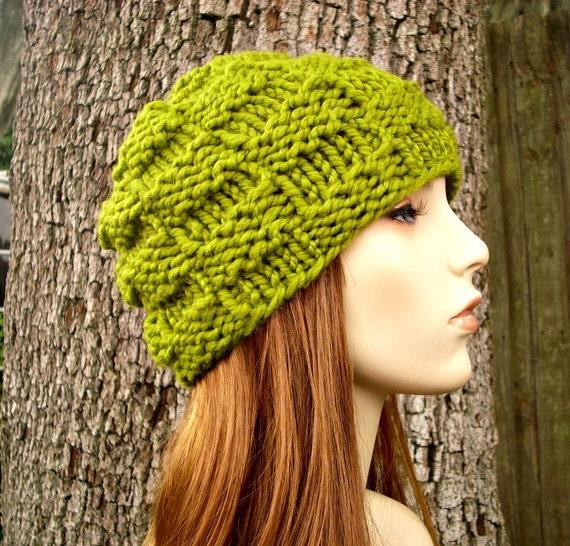 Lemongrass Green Knit Hat Green Womens Hat - Green Basket Weave Beanie - Green Beanie Green Hat Fall Fashion Womens Accessories Winter Hat