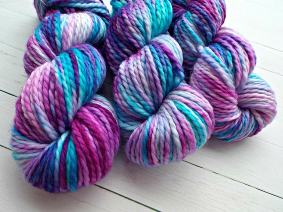 Hand Dyed Yarn 100% Superwash Merino Yarn Bulky Weight Yarn - 109 Yards Variegated Yarn Aqua Blue Yarn Purple Yarn Pink Yarn - Unicorn Yarn