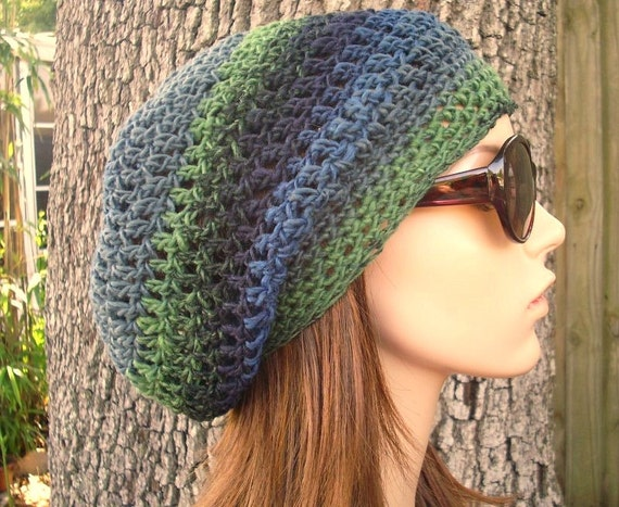 Crochet Hat Womens Hat Slouchy Beanie - Weekender Slouchy Hat Waterfall Blue Crochet Hat - Blue Hat Green Winter Hat
