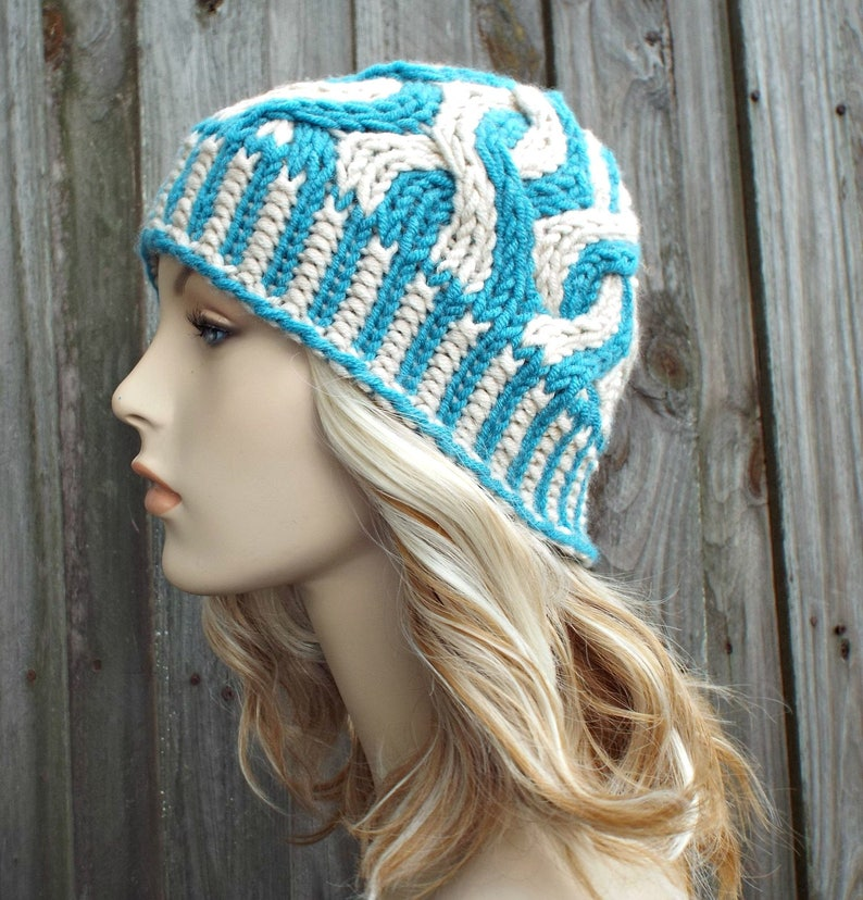 1dd0636ee5d3e Two Color Cable Beanie Blue Womens Beanie Blue Mens Beanie