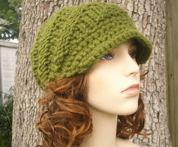 Green Womens Hat Olive Green Newsboy Hat - Swirl Beanie with Visor Olive Green Knit Hat - Green Hat Green Beanie Womens Accessories