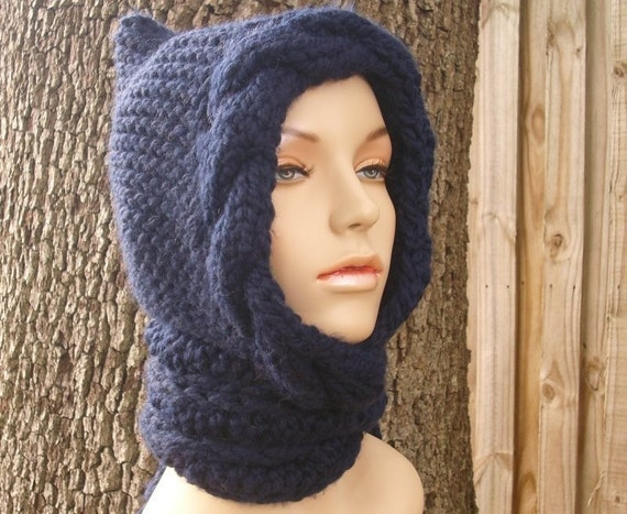 Knit Hat Womens Hat - Navy Cable Scarf Hat in Navy Blue Hooded Scarf Knit Hat - Blue Scarf Blue Hat Nay Scarf Navy Hat Womens Accessories