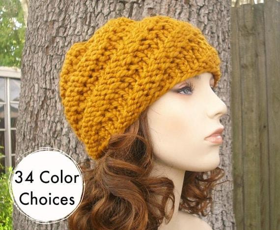 49f18b385a5 Mustard Womens Hat Swirl Beanie Mustard Yellow Knit Hat