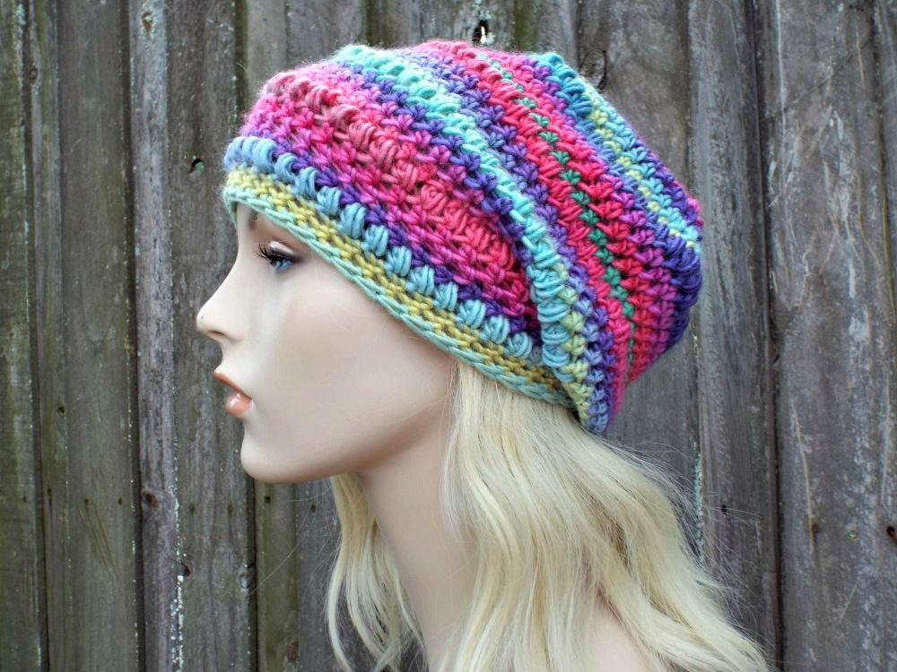 883a10ee0e8d5d Crochet Hat Womens Hat - Penelope Puff Stitch Slouchy Beanie Hat - Ferris  Wheel Rainbow Beanie Rainbow Hat - Winter Hat - READY TO SHIP